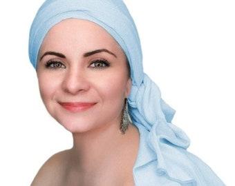 RETIREMENT SALE Light Blue Gauze Chemo Turban Hat Set, Cotton Head Wrap , Chemo Hat, Cancer Hat & Scarf Set