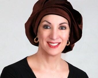RETIREMENT SALE Oversize 13 inch Beret, Dark Brown Velvet Beret, French Beret, Large Beret, Slouchy Hat, Chemo Hat, Alopecia Hat