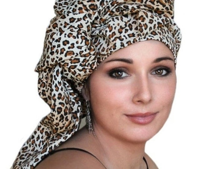 ON SALE Save 40% Leopard Cotton Turban Dreads Wrap, Head Wrap, Alopecia Scarf, Chemo Hat, Boho Gypsy Tribal, One Piece Wrap