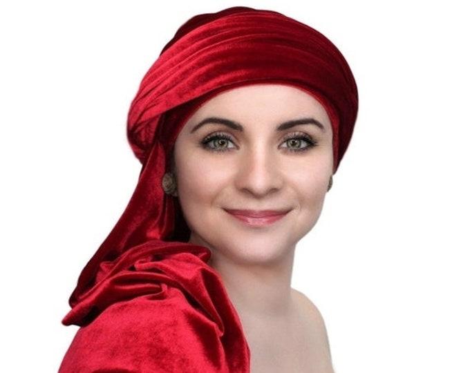 AUTUMN SALE Turban Diva Red Velvet Turban, Head Wrap, Chemo Hat, One Piece Wrap, Fitted Turban