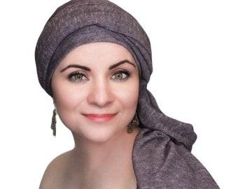 RETIREMENT SALE Save 50% Turban Diva Plum Heather Turban, Purple Turban, Jersey Knit Head Wrap, Chemo Hat, One Piece Wrap, Fitted