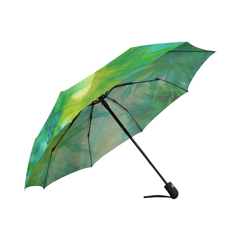 Automatic OpenClose Umbrella Floral Gold Abstract Green