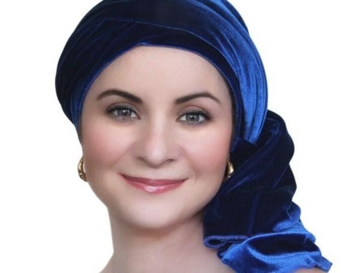 AUTUMN SALE Turban Diva Cobalt Blue Velvet Turban, Head Wrap, Chemo Hat, Alopecia Scarf, Hat & Scarf Set