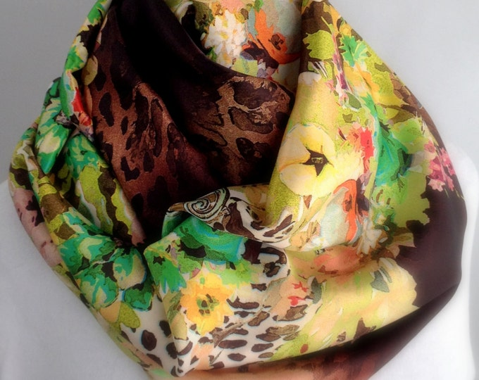 Brown Floral Silky Infinity Scarf, Circle Scarf,  Accessories, Boho Scarf, Gift for Her 800-14