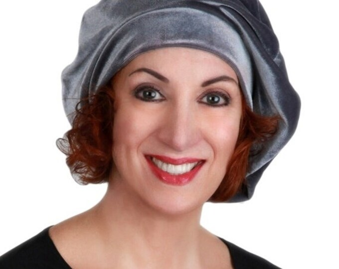 AUTUMN SALE Oversize 13 inch Beret, Gray Velvet Beret, French Beret, Large Beret, Slouchy Hat, Chemo Hat, Alopecia Hat, Boho