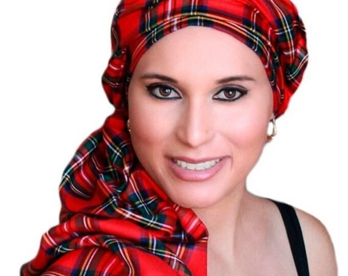 AUTUMN SALE Turban Diva Red Plaid Turban Chemo Head Wrap Scarf, One Piece Wrap, Fitted Turban