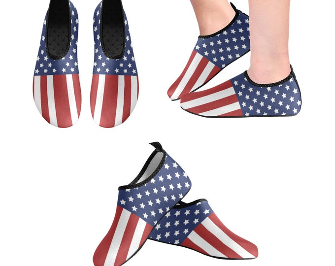 Yoga Shoes, Barefoot Shoes, Women's Shoes, Kids Shoes, Flat Shoes, Slip-ons, Casual Shoes, Flag, Red White Blue, Artsy Shoes