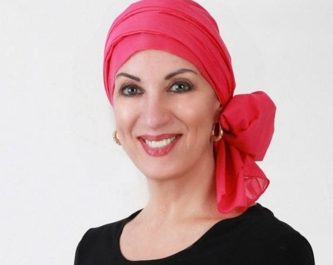 AUTUMN SALE Turban Diva Hot Pink Turban, Head Wrap, Chemo Hat, Hat & Scarf Set, Cotton Voile, Gift for Her