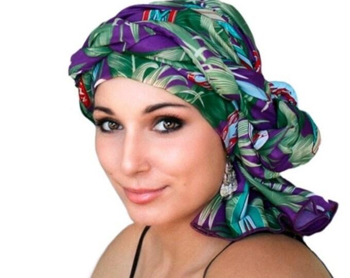 AUTUMN SALE Turban Dreads Wrap, Purple Green Head Wrap, Chemo Hat, Boho, One Piece Fitted Wrap