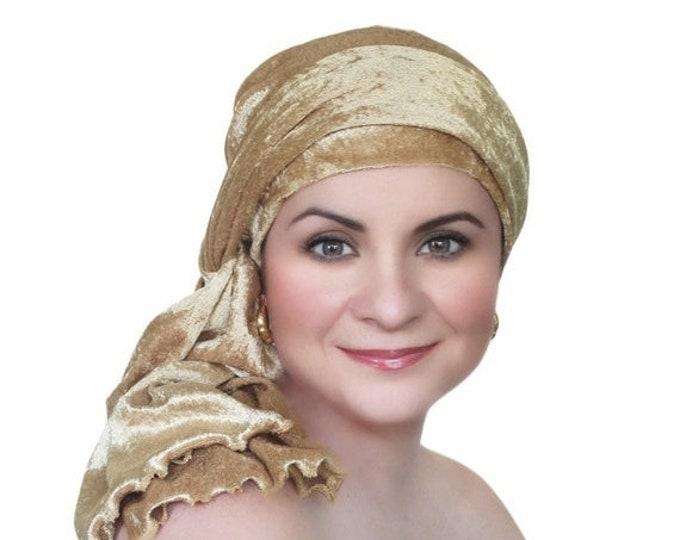 AUTUMN SALE Turban Diva Gold Velvet Turban, Head Wrap, Chemo Hat, Alopecia Scarf, Hat & Scarf Set