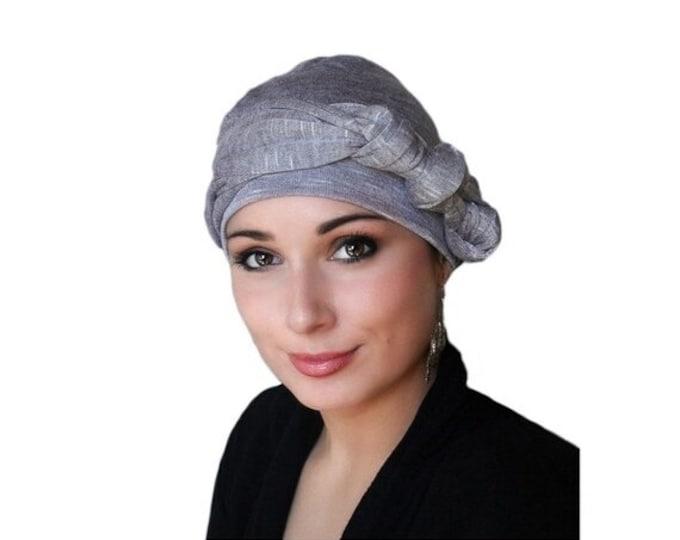 AUTUMN SALE Light Plum Heather Turban, Purple Turban, Head Wrap, Chemo Hat, Jersey Knit Hat & Scarf Set