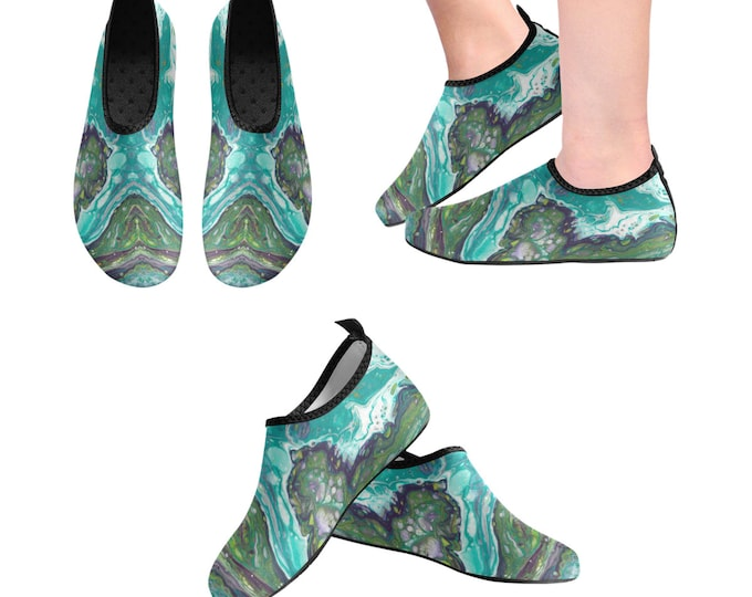 Yoga Shoes, Barefoot Shoes, Abstract Art Shoes, Women's Shoes, Kids Shoes, Flat Shoes, Slip-ons, Casual Shoes, Green, Teal