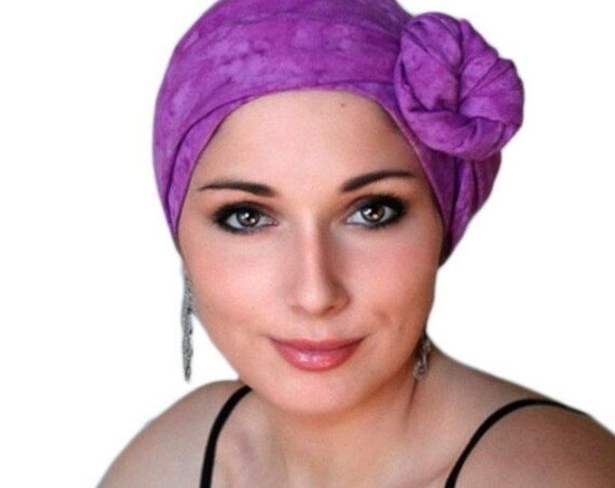 AUTUMN SALE Raspberry Batik Turban Hat, Alopecia Scarf, Chemo Hat & Scarf Set by Turban Diva