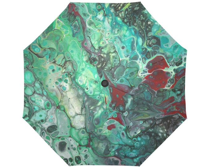 Automatic Open/Close Umbrella, Gift, Green,Red, Gray, Abstract