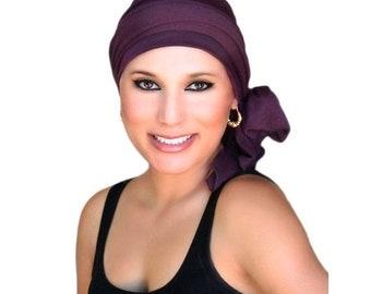 AUTUMN SALE Turban Diva Plum Turban, Purple Turban, Chemo Hat, Head Wrap, Alopecia Head Scarf, Jersey Knit Hat & Scarf Set, Gift for Her