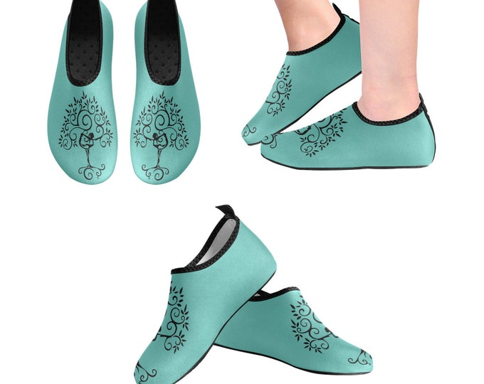 Yoga Shoes, Barefoot Shoes, Women's Shoes, Kids Shoes, Flat Shoes, Slip-ons, Casual Shoes, Tree of Life, Teal, Turquoise, Artsy Shoes