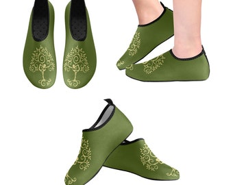 Yoga Shoes, Barefoot Shoes, Women's Shoes, Kids Shoes, Flat Shoes, Slip-ons, Casual Shoes, Tree of Life,  Green, Gold, Artsy Shoes