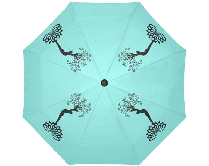 Automatic Open/Close Umbrella, Gift, Teal, Turquoise, Black, Yoga Pose, Tree of Life, Reaching Figure