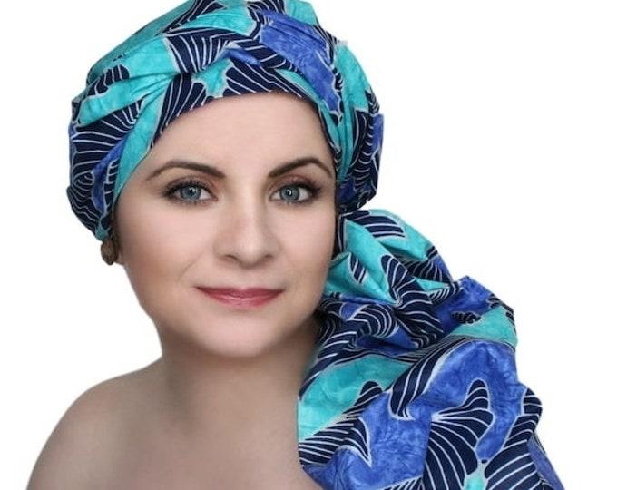 AUTUMN SALE Blue Black Turquoise Turban Dreads Wrap,Head Wrap, Alopecia Scarf, Chemo Hat, Boho Gypsy Tribal, One Piece Fitted Wrap