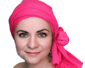 RETIREMENT SALE Save 50% Hot Pink Cotton Gauze Turban, Head Wrap, Chemo Hat, Boho, Hat & Scarf Set Gift