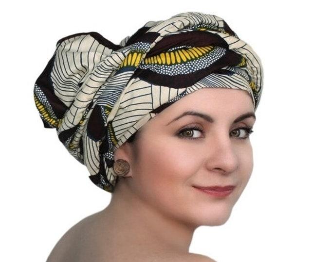 AUTUMN SALE Brown Creme Navy Swirl African Wax Print Turban Dreads Wrap, Head Wrap, Alopecia Scarf, Chemo Hat, Boho Gypsy Tribal, One Piece