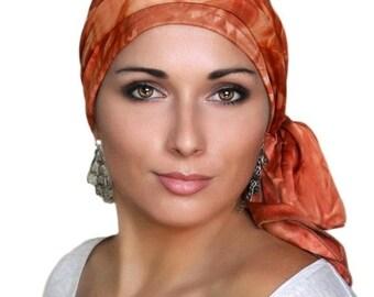 AUTUMN SALE Turban Diva Rust Tie-Dye Turban Head Wrap Alopecia Head Scarf Chemo Hat, Jersey Knit Hat & Scarf Set