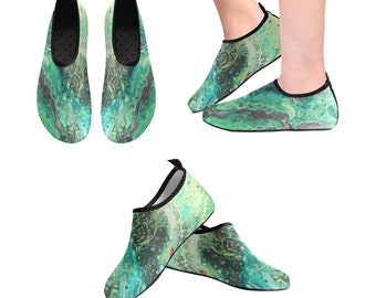 Yoga Shoes, Barefoot Shoes, Women's Shoes, Kids Shoes, Flat Shoes, Slip-ons, Casual Shoes, Green, Abstract, Ruby, Artsy Shoes