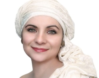AUTUMN SALE Turban Diva Winter White Velvet Turban, Head Wrap, Chemo Hat, Alopecia ScarfOne Piece Fitted
