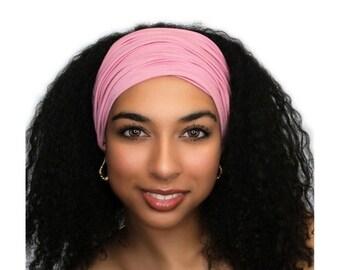 RETIREMENT SALE Save 50% Rose Pink Turban Head Band, Yoga headband, Wide Headband, Exercise Headband, Pretied Turban 298-09a
