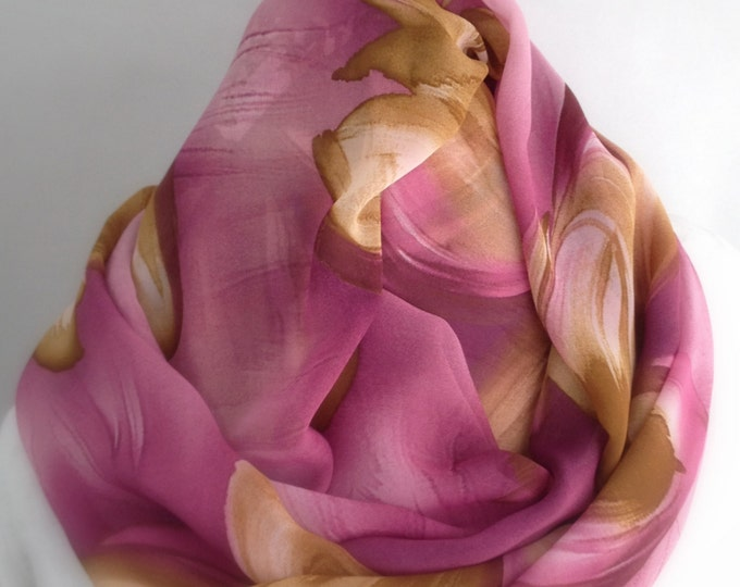 Rose Pink Mustard Gold Floral Infinity Scarf, Circle Scarf,  Accessories, Boho Scarf, Gift for Her, gift