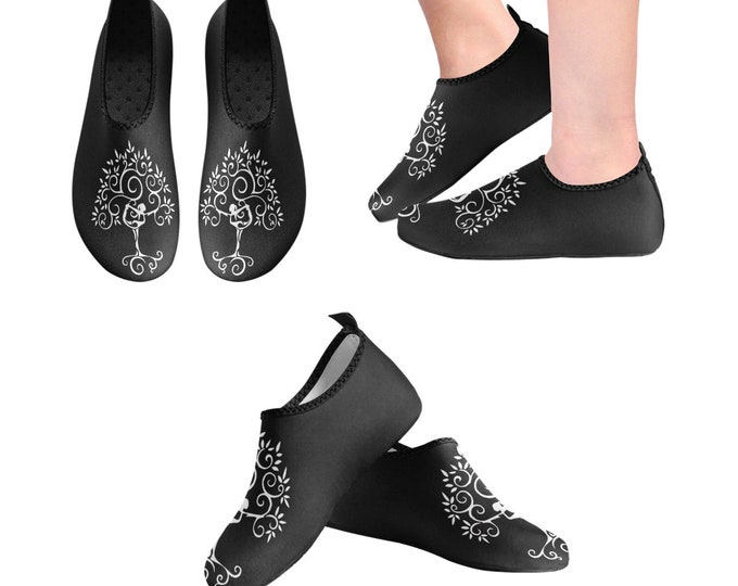 Yoga Shoes, Barefoot Shoes, Women's Shoes, Kids Shoes, Flat Shoes, Slip-ons, Casual Shoes, Tree of Life, Black,  White, Artsy Shoes