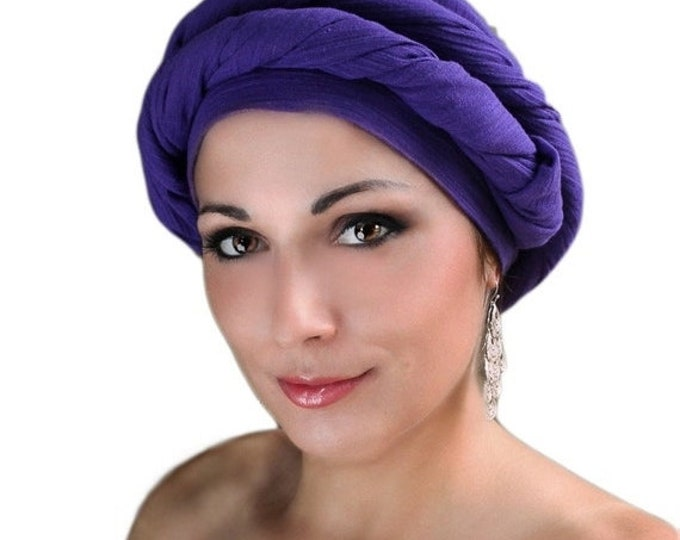 AUTUMN SALE Purple Cotton Turban, Head Wrap, Chemo Hat, Head Wrap, Cotton Gauze Turban, Alopecia Scarf, Boho, Gypsy, One Piece Wrap