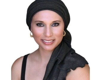 RETIREMENT SALE Save 50% Turban Diva Black Gold Turban, Head Wrap, Chemo Hat, Alopecia Head Scarf, Jersey Knit Hat & Scarf Set