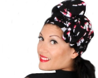 AUTUMN SALE Black Pink Turban Hat Set, Head Wrap Alopecia Scarf, Chemo Hat, Fuchsia, Hat & Scarf Set, Rayon Challis