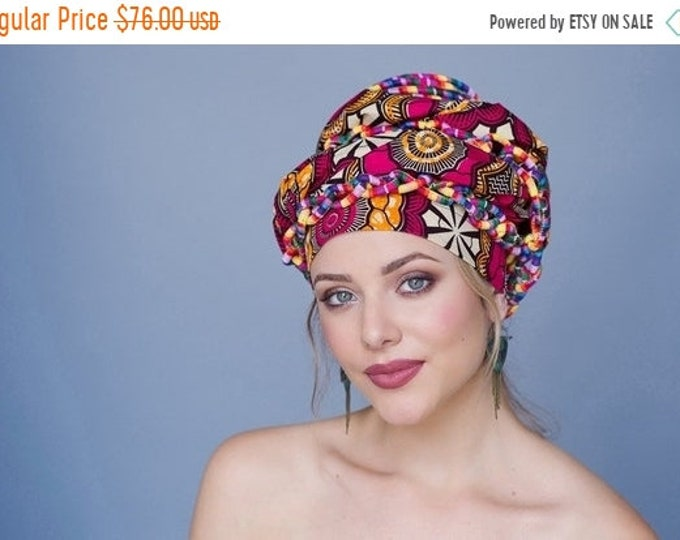 AUTUMN SALE Turban Diva African Wax Print Turban Dreads Wrap, Red Gold Black Head Wrap, Alopecia Scarf, Chemo Hat, BohoTribal, One Piece Fit