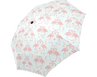 Automatic Open/Close Umbrella, Gift, Flamingo, Pink, Heart