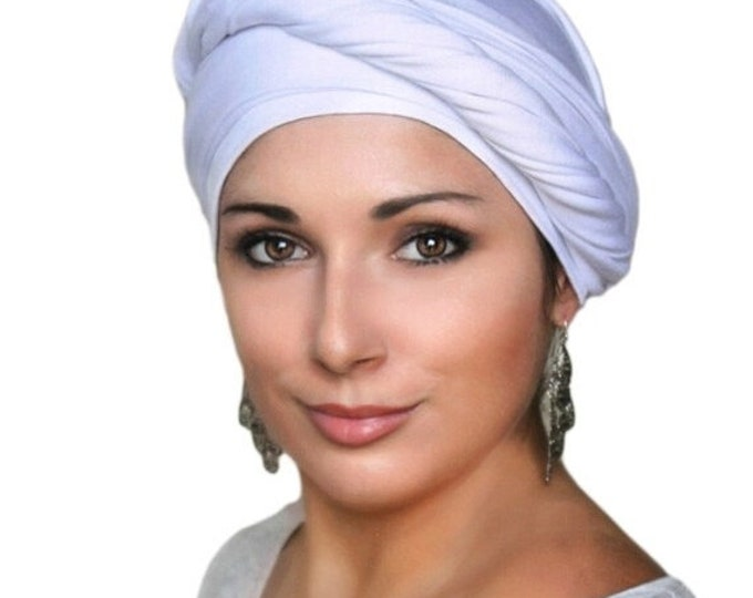 AUTUMN SALE White Turban, Head Wrap, Chemo Hat, One Piece Fitted, Jersey Knit Head Wrap
