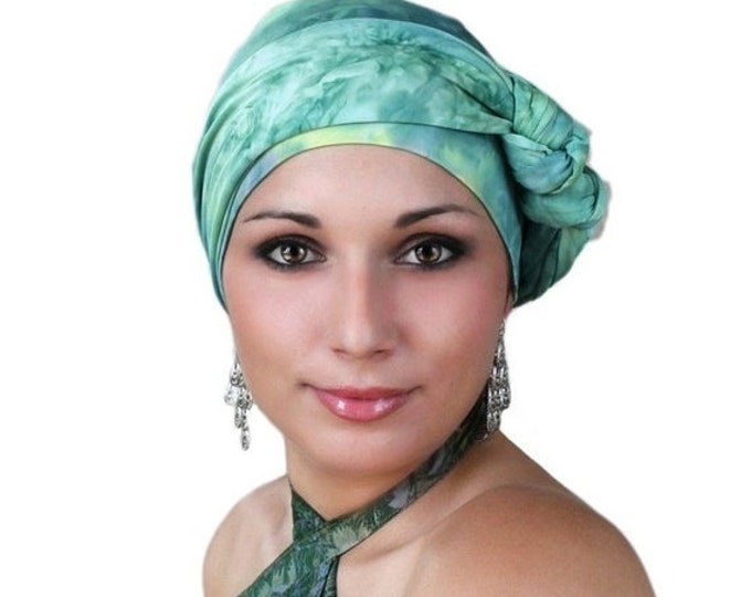 AUTUMN SALE Turban Diva Jade Marble Turban Jersey Knit Hat and Scarf Set, Head Wrap, Alopecia Head Scarf, Chemo Hat. Cancer hat