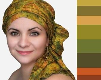 AUTUMN SALE Olive Floral Chemo Turban Hat Set, Batik Head Wrap , Chemo Hat, Cancer Hat & Scarf Set