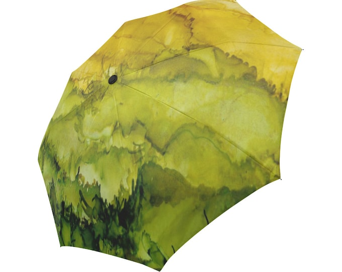 Automatic Open/Close Umbrella, Gift, Green, Gold, Abstract