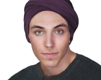 AUTUMN SALE Men's Turban, Plum Turban, Dreads Wrap, Motorcycle Scarf, Gifts for Men, Tactical Scarf