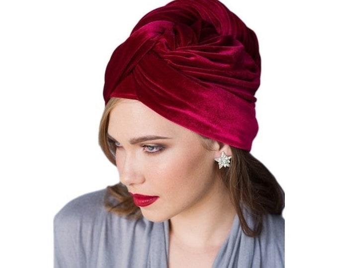 AUTUMN SALE Turban Diva Red Velvet Turban, Head Wrap, Chemo Hat, Alopecia Scarf, Hat & Scarf Set