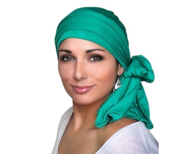AUTUMN SALE Turban Diva Emerald Green Turban Head Wrap Chemo Head Scarf, Jersey Knit Hat & Scarf Set, Gift for Her