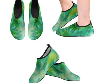 Yoga Shoes, Barefoot Shoes, Women's Shoes, Kids Shoes, Flat Shoes, Slip-ons, Casual Shoes, Green, Abstract, Floral, Artsy Shoes