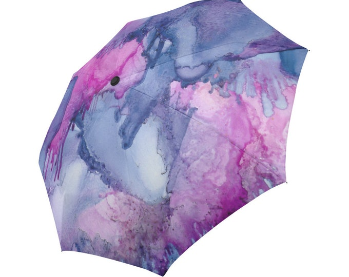 Automatic Open/Close Umbrella, Gift, Purple, Amethyst, Pink, Abstract