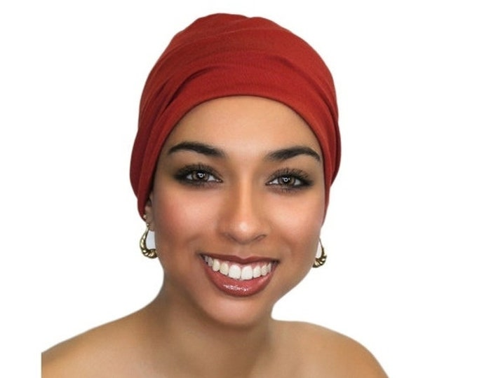 AUTUMN SALE Rust. Brick Red Chemo Hat, Sleep Hat, Alopecia Cap, Scarf Liner, Slouch Hat, Pretied Turban