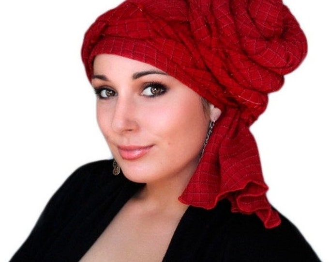 AUTUMN SALE Turban Diva Red Turban Dreads Wrap, Chemo Hat, Boho Gypsy Tribal, One Piece Wrap, Fitted Turban