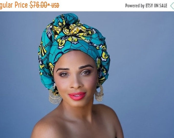 AUTUMN SALE African Wax Print Turban Dreads Wrap, Turquoise Teal Gold Black Head Wrap, Alopecia Scarf, Chemo Hat, Boho Gypsy Tribal, 1 Piece