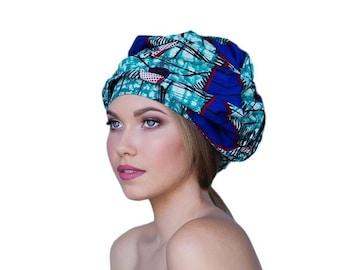 AUTUMN SALE ON Sale Save 40% Turban Diva African Wax Print Turban Dreads Wrap, Purple Teal Black Head Wrap, Alopecia Scarf, Chemo Hat, Boho