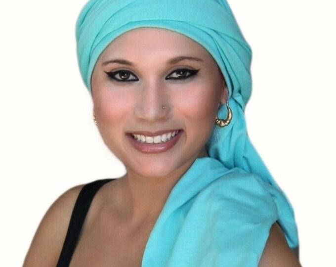 AUTUMN SALE Turban Dreads Aqua Head Wrap, Alopecia Scarf Chemo Hat, One Piece Fitted Wrap